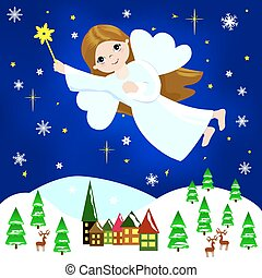 Christmas Angel - Little girl Christmas angel flying in the...