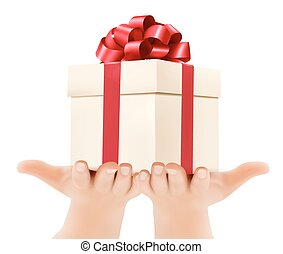 Holiday background with hands holding gift boxes Concept of...