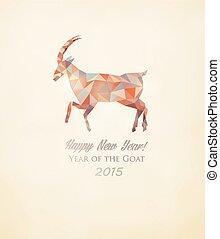 2015, saludo, tarjeta, con, Un, polígono, goat.,...