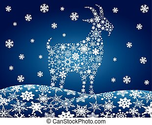2014 Chinese Goat Snowflakes Illustration - 2014 Chinese...