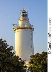 famous lighthouse of la Malagueta in Malaga Spain