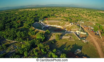 Burnum Roman amphitheater, aerial - Copter aerial view of...