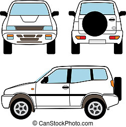 Car - small offroad, vector shapes - White small offroad,...