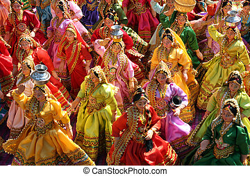 Rajasthani Dolls - A background with a view of traditional...
