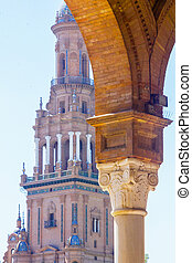 Details of the columns of the famous square of Spain in Seville