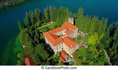 Monastery Visovac, aerial shot - Copter aerial descenting...