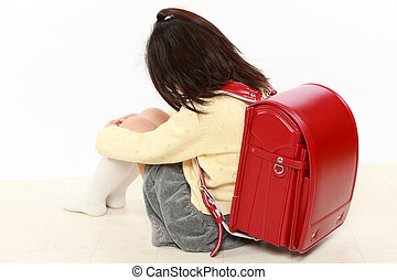 bullied child - Japanese bullied child with red satchel...