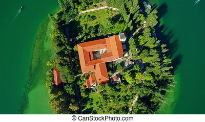Monastery Visovac, aerial ascent shot - Copter aerial...