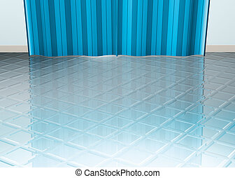 Tiled floor blue curtain