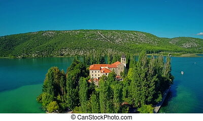Island Visovac, aerial shot - Copter aerial view of the...