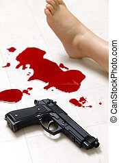 Shooting Incident - concept shot of the crime scene of...