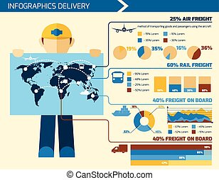 Delivery Man Infographics - Delivery man infographics flat...