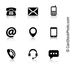 Contact us icons with reflection
