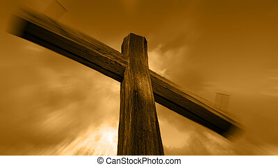 Wooden cross - Wooden cross against the sky with shining...
