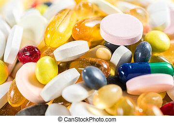 primer plano, medicinal, drogas, píldoras, y,...