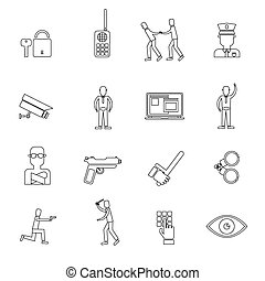 Security Guard Outline Icons - Security guard law protection...