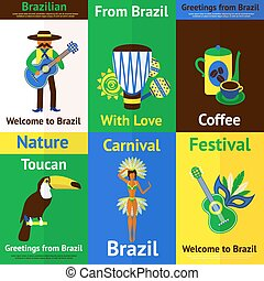 Brazil Mini Poster Set - Brazil mini poster set with tourism...