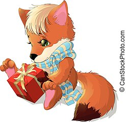 beautiful fox who holds in his paws gift on white background