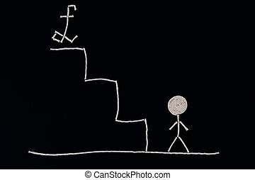 Man at the bottom of the stairs ready to succeed, Unusual...