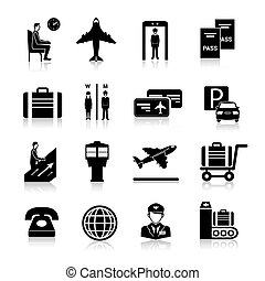 Airport Icons Black - Airport icons black set with baggage...