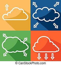 Color cloud with arrow icon vector eps 10