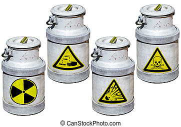 Four barrels with hazardous waste Barrels marked by symbols...