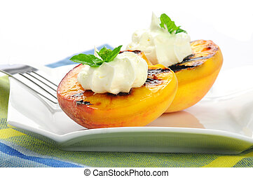 Grilled Peaches - Delicious grilled peaches served with...