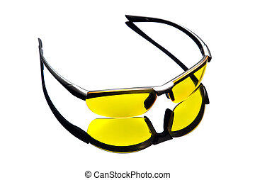 Yellow sunglasses High angle view - Yellow sunglasses and...