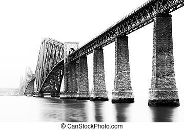Black and white image of Firth of Forth Bridge in South...