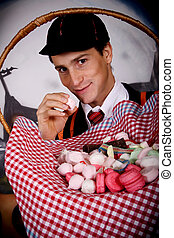 Halloween student sweets - Young Halloween male with English...