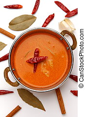 red curry - studio shot of typical food in Thailand red...