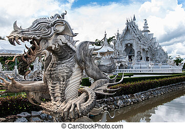 Magnificently grand white temple Rong Khun temple, Chiang...