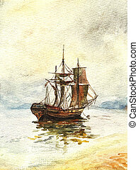 Watercolor old ship - Watercolor painting of the old ship...