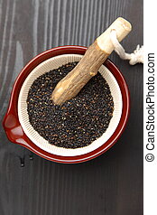 Black sesame seed - close up shot of black sesame seed in...