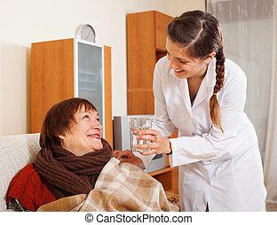 sorrindo, enfermeira, em, uniforme, importar-se, para,...