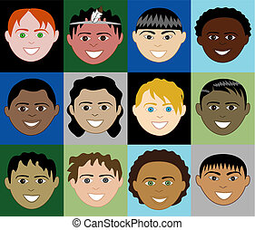 Boys Faces 2 - 12 diverse boys faces. Also available in...
