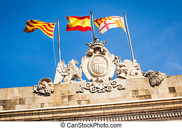 Sant Jaume square - Detail of a flags in the Sant Jaume...