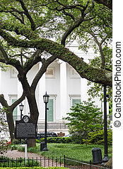 Antebellum Home Behind Revolutionary Park - A large, white...