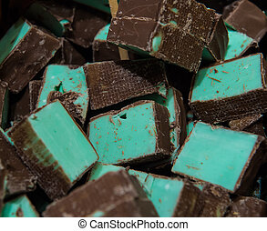 Delicious chunks of homemade peppermint chocolate sweets on...