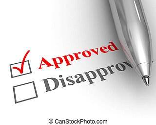 Approved status - Pen on evaluation form, with approved...