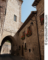 Assisi -Italy - The narrow streets in Assisi