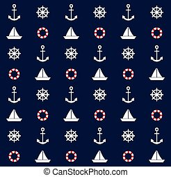 Navy blue background with boat, anchor, steering rudder