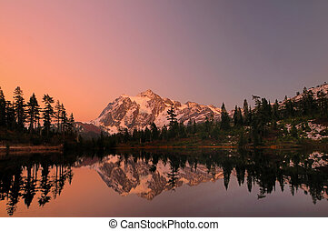 Mt Shuksan with alpine glow - Mount Shuksan with the alpine...