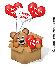 A brown bear in a box with some hearts