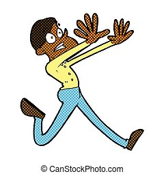 comic cartoon man running away - retro comic book style...