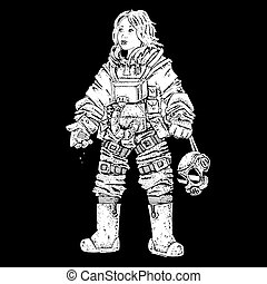 female astronaut black and white illustration
