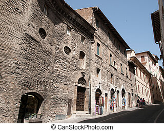 Assisi Italy - Medieval streets in Assisi Italy