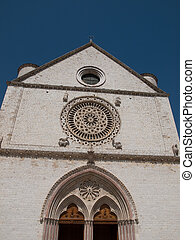 Assisi Italy - The facade of the Basilica of St.Francis in...