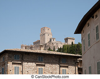 Assisi -Italy - View on Rocca Maggiore fortress in...