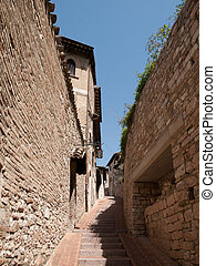 Assisi -Italy - The narrow street of Assisi in Italy